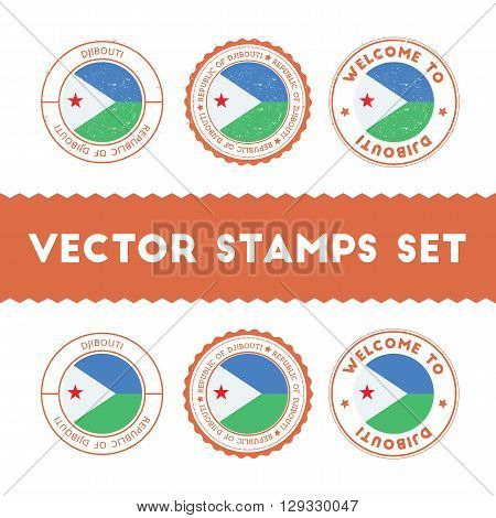 Djibouti Flag Rubber Stamps Set. National Flags Grunge Stamps. Country Round Badges Collection.