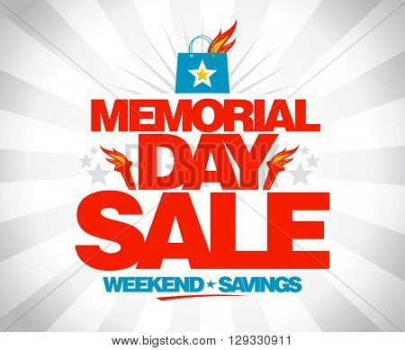 Memorial day sale weekend savings vector poster.