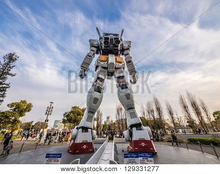 Odaiba, Tokyo, Japan - March 30, The Back Part Of 18-meter Mobile Suit Gundam Rx78 Robot In Front Of
