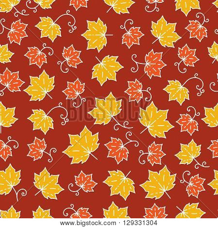 Maple leaf pattern. Autumn seamless pattern in trendy mono line style. Elegant autumn leaves isolated on a burgundy background