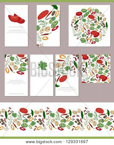 Food templates with different fresh vegetables, potherbs and spices.  For your design, announcements, greeting cards, posters, advertisement.