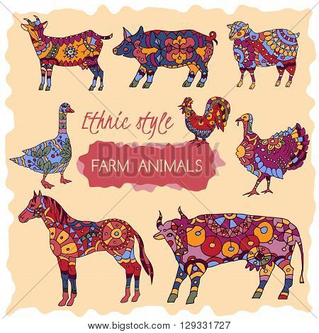 Set of colorful farm animals decorated in ethnic style.  Great for farm products and grocery advertising, ethnic festival print products, romantic cards, pattern design.