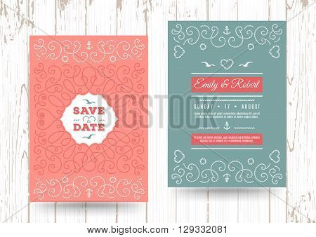 Wedding invitation card template, Nautical save the date cards, Marine vector, Elegant frame of marine rope on the background of the waves. Color Palette: turquoise and coral
