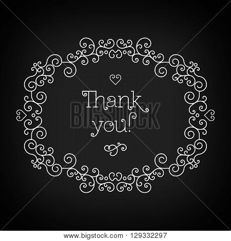 Thank you lettering on the black chalkboard, elegant geometric floral frame. Thank you card with copy space for text and other decorative elements. Vector illustration in trendy mono line style.