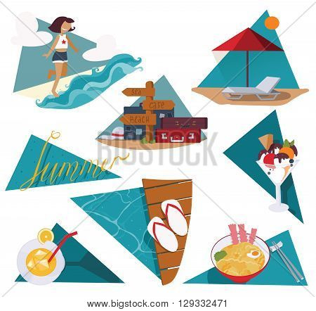 Isolated on white vector illustration with set of summer vacation images. Happy girl and sea ice cream cocktail cool noodle flop flops and pointer with bags and suitcases sunbed and umbrella.