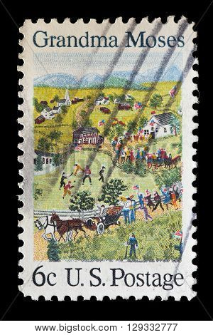 UNITED STATES OF AMERICA - CIRCA 1969: A used postage stamp printed in United States shows a painting depicting people buildings animals with pets and birds circa 1964