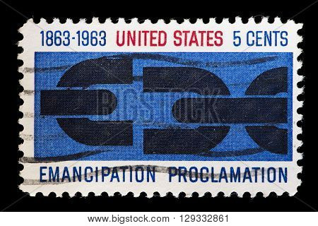 United States Used Postage Stamp Showing, Anniversary Of Emancipation Proclamation
