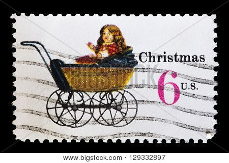 United States Used Postage Stamp Showing A Doll Toy Carriage