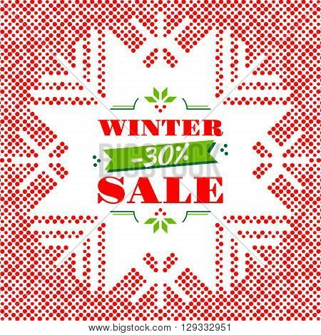 Winter Sale: advertising poster, modern card, banner, flyer. Winter season sale vector illustration. Red dotted background with a silhouette of snowflakes. Winter background