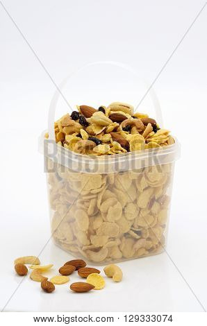 Caramel cornflake in plastic box for sale.