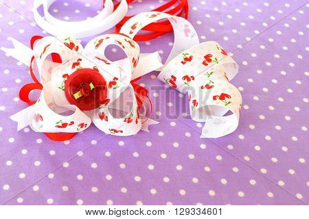 Beautiful bright bow of ribbon, children hair accessory, ribbon set