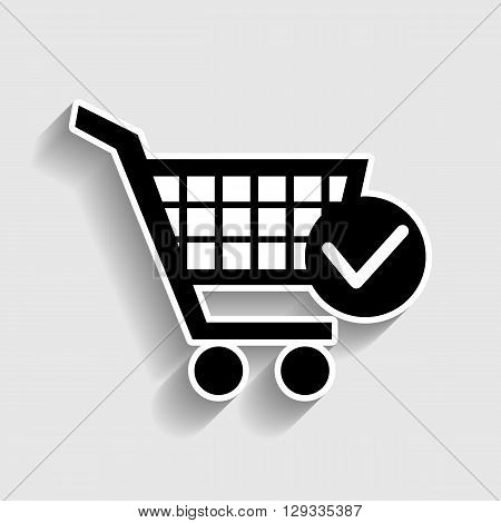 Shopping Cart and Check Mark Icon. Sticker style icon with shadow on gray.