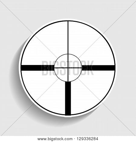 Sight sign. Sticker style icon with shadow on gray.