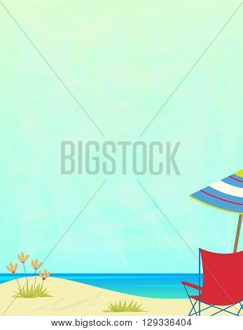 Blank sign of a sandy beach with beach chair and umbrella. Eps10