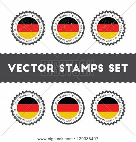 I Love Germany Vector Stamps Set. Retro Patriotic Country Flag Badges. National Flags Vintage Round