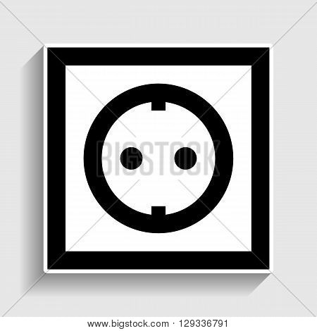 Electrical socket sign. Sticker style icon with shadow on gray.