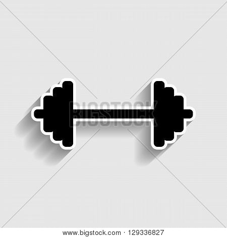 Dumbbell weights sign. Sticker style icon with shadow on gray.