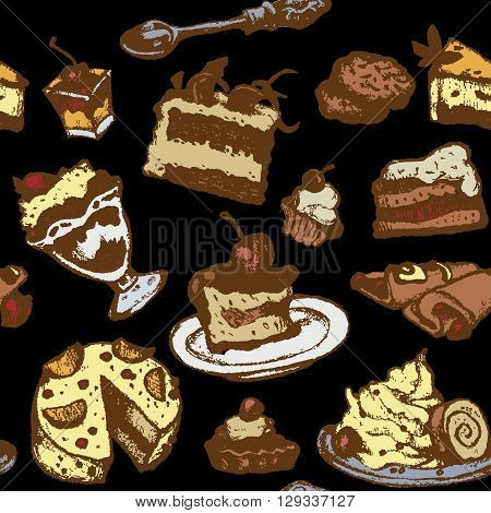 set of cakes and desserts, seamless texture