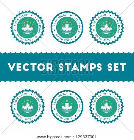 I Love Macao Vector Stamps Set. Retro Patriotic Country Flag Badges. National Flags Vintage Round Si