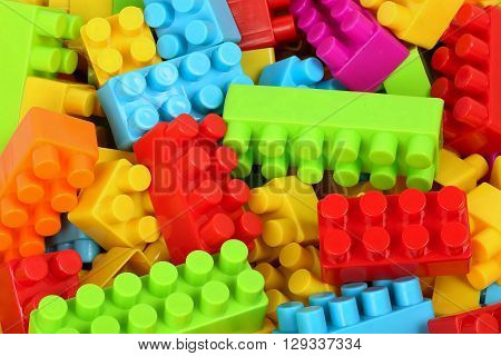 collection of many toy blocks, colorful bacground