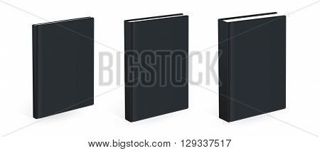 Three different size vector black books isolated on the white background. Empty covers.