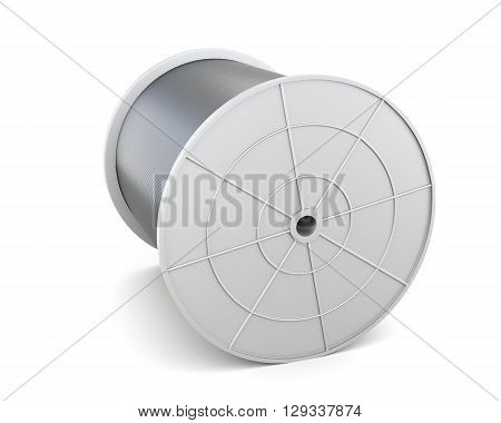 Spool with cable isolated on white background. Black cable. White reel, spool, bobbin. 3d render image.
