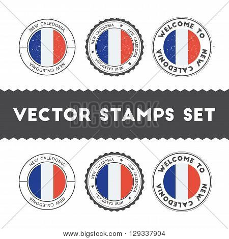 New Caledonian Flag Rubber Stamps Set. National Flags Grunge Stamps. Country Round Badges Collection