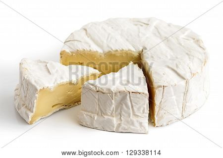 White Mould Cheese With Cut Slices Isolated On White.