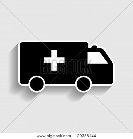 Ambulance sign. Sticker style icon with shadow on gray.