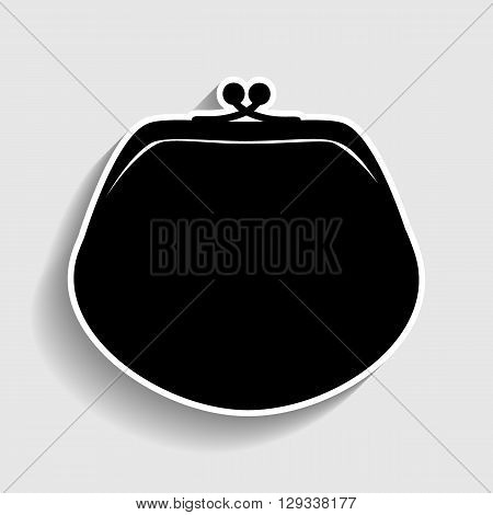 Purse sign. Sticker style icon with shadow on gray.
