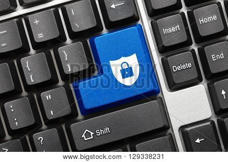 Conceptual Keyboard - Blue Key With Shield And Lock Symbol