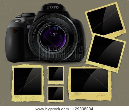 photo camera and a set of different size frames