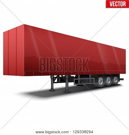 Blank parked red semi trailer with canvas cover. Perspective side view. Vector Illustration Isolated on white background