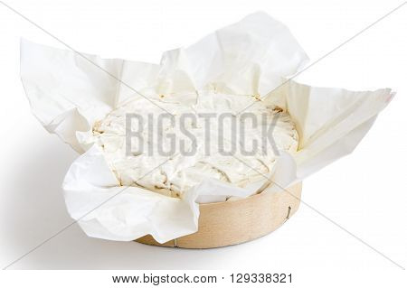 Whole White Mould Cheese In Wrapping Isolated White.
