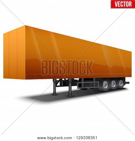 Blank parked orange semi trailer with canvas cover. Perspective side view. Vector Illustration Isolated on white background