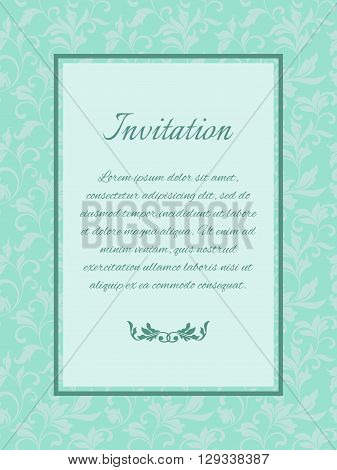 Luxury template with decorative pattern in vintage style. Design in mint color. It can be used for decorating of invitations or cards.