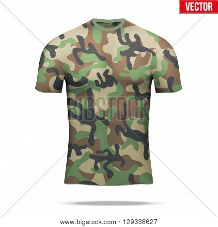 Base layer underwear compression t-shirt of thermal fabric  in woodland camouflage style. Sample typical technical illustration.  Vector Illustration isolated on white background