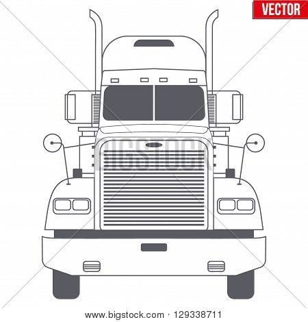 Truck vector symbol for delivery company. Monochrome design. Vector Illustration isolated on background.