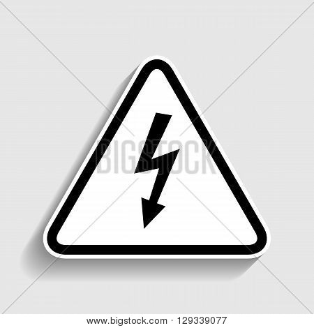 High voltage danger sign. Sticker style icon with shadow on gray.