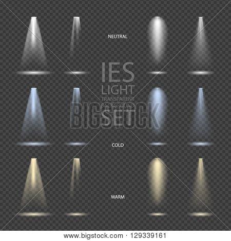 Vector Light Effect Spotlight with Transparent Background Set