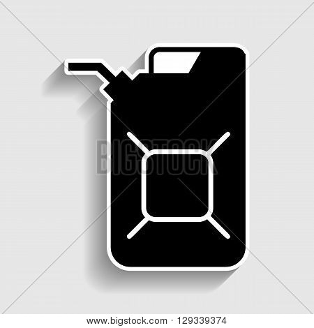 Jerrycan oil sign. Jerry can oil sign. Sticker style icon with shadow on gray.