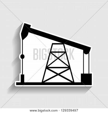 Oil drilling rig sign. Sticker style icon with shadow on gray.