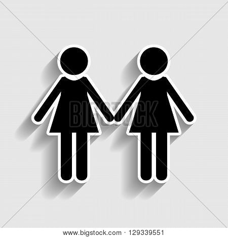Lesbian family sign. Sticker style icon with shadow on gray.