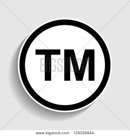 Trade mark sign. Sticker style icon with shadow on gray.