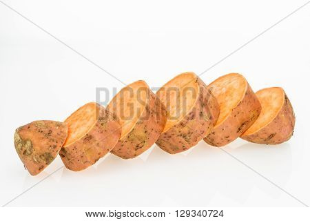 Fresh Sweet Potato Sliced , Isolated On White Background