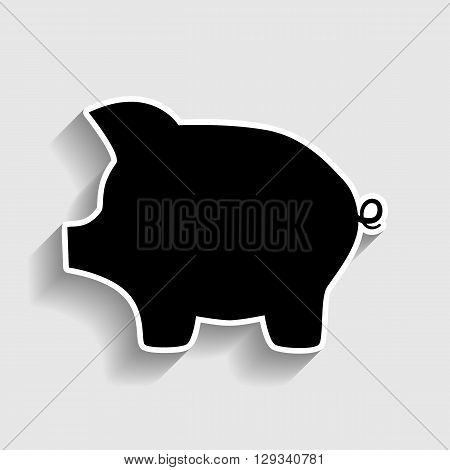 Pig money bank sign. Sticker style icon with shadow on gray.
