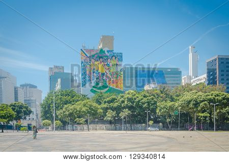 Rio De Janeiro, Brazil - March 06, 2016:  Outdoor Panel Paint Olympic Games 2016 Landmark White Arch