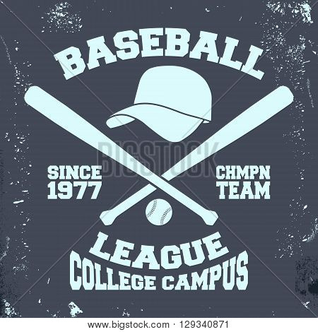 T-shirt print design. Baseball league vintage stamp. Printing and badge applique label t-shirts jeans casual wear. Vector illustration.