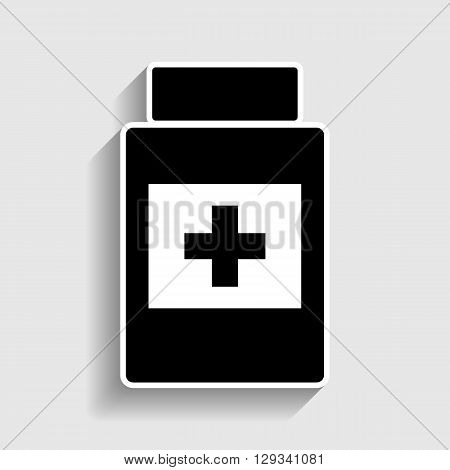 Medical container sign. Sticker style icon with shadow on gray.
