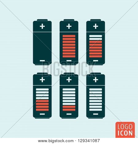 Battery icon. Battery charge status symbol. Vector illustration